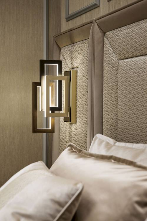 Nights in champagne satin with Edge lighting collection.