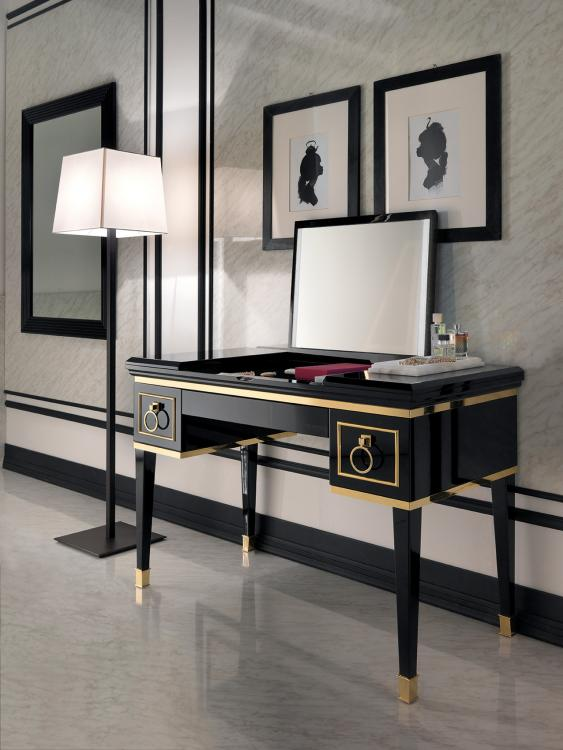 Lutetia make up console, Black finish, Nero Marquinia marble