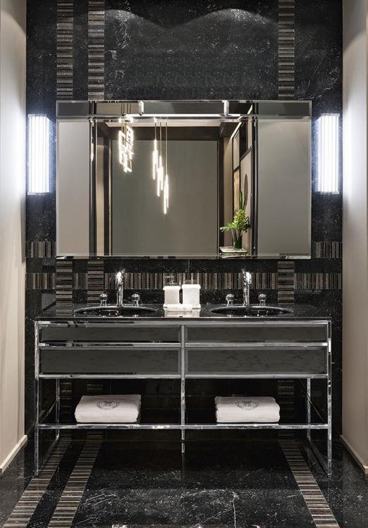 Academy vanity unit, Smoke Mirror, Nero Marquinia marble