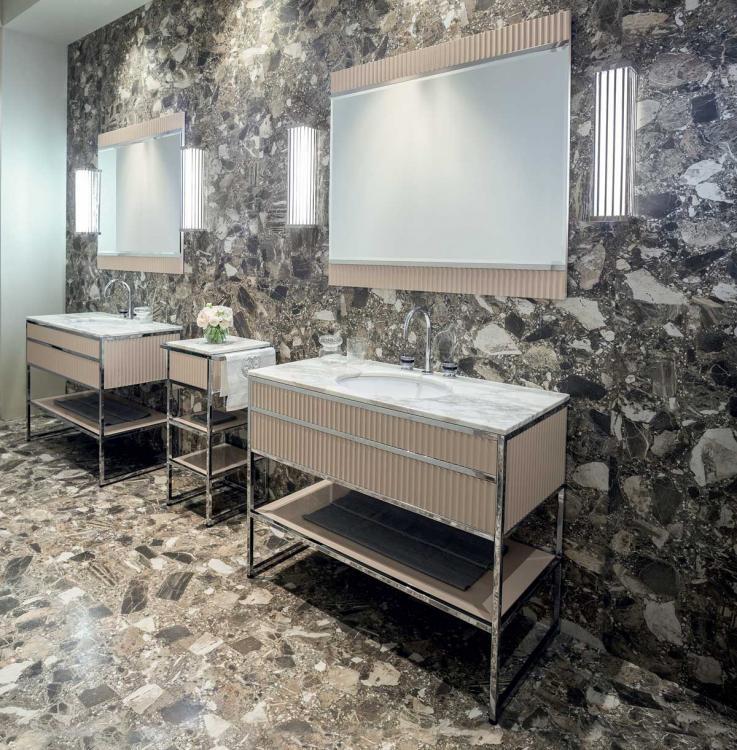 Academy vanity unit, Ribbed Lino / Bianco Statuario marble