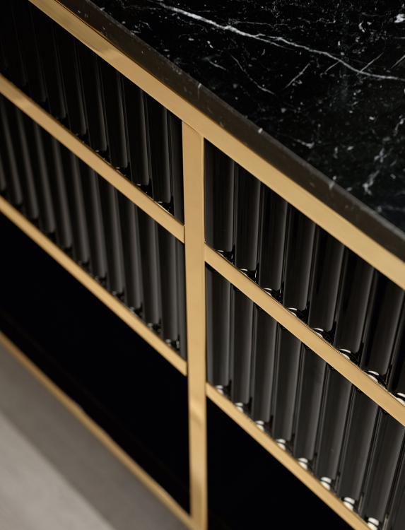 Academy vanity unit, Ribbed Black, Nero Marquinia marble
