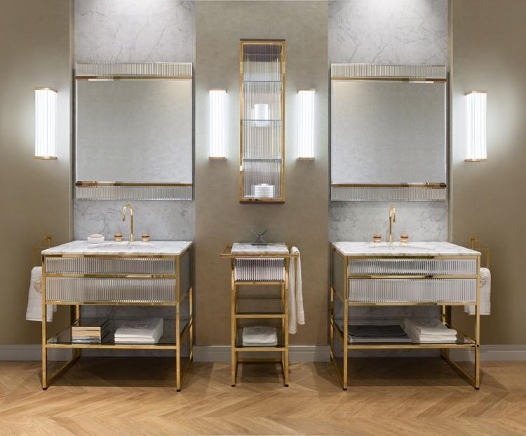 Academy vanity unit, Ribbed Mirror / Calacatta Oro marble