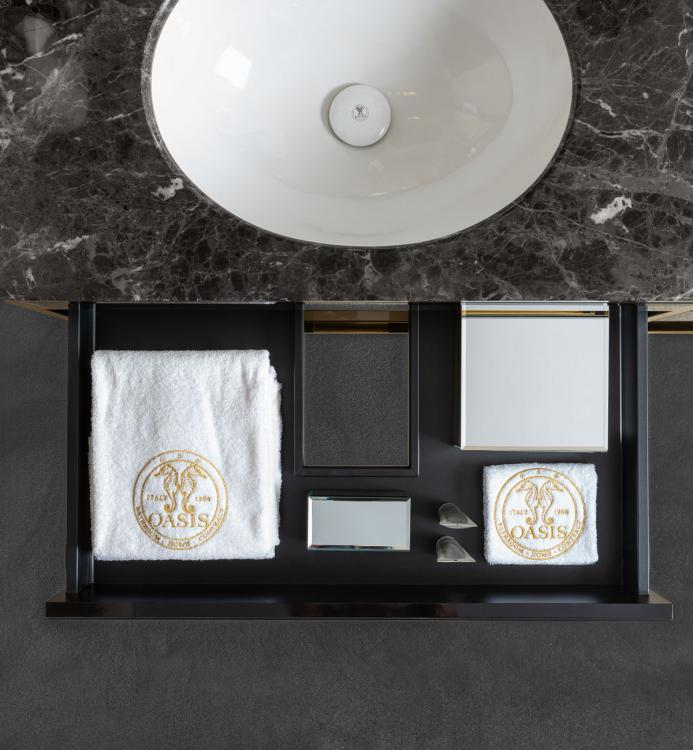 Academy vanity unit, Bronze Mirror, Mystic Brown marble