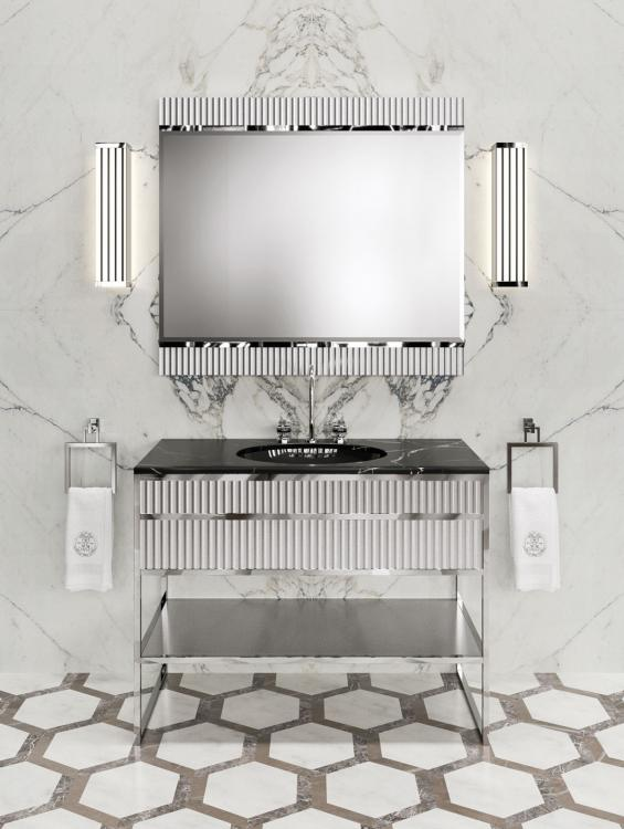 Academy vanity unit, Ribbed Light Grey, Nero Marquinia marble