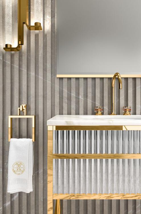 Academy vanity unit, Ribbed Mirror, Calacatta Oro marble
