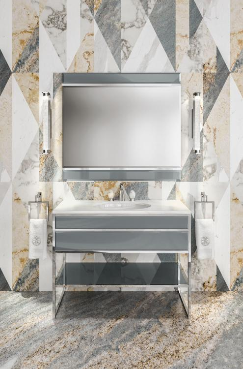 Academy vanity unit, Smoke finish, Lasa Fantastico marble