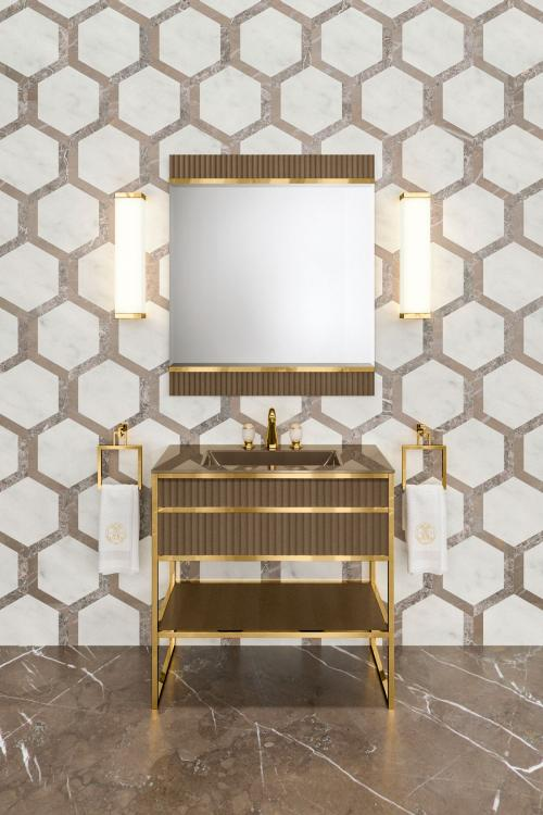 Academy vanity unit, Ribbed Gianduia, integrated glass top