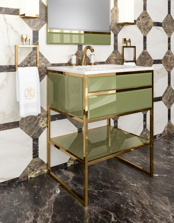 Academy vanity unit, Mint finish, Calacatta Oro marble
