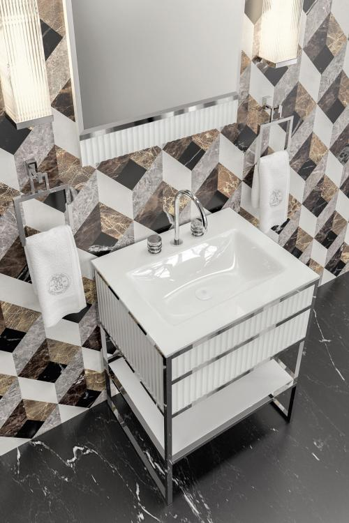 Academy vanity unit, Ribbed White, integrated glass top