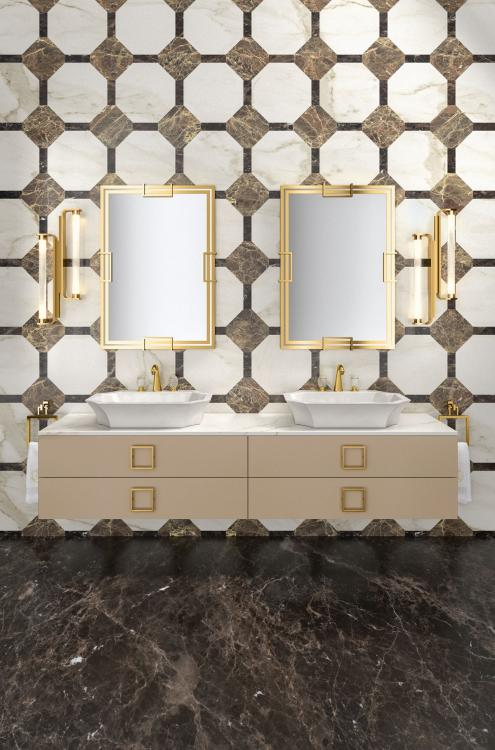 Daphne vanity unit, Lino finish, Calacatta Oro marble, gold details