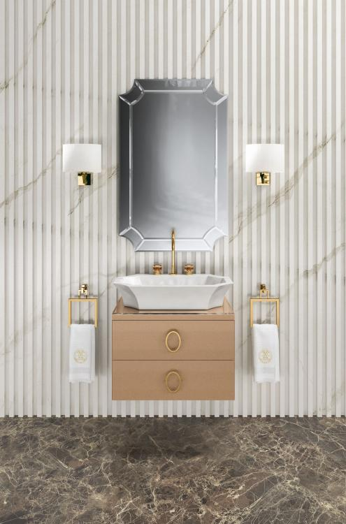 Daphne vanity unit, Bronze finish, Bronze glass top, Narciso mirror, Nelly wall lamp