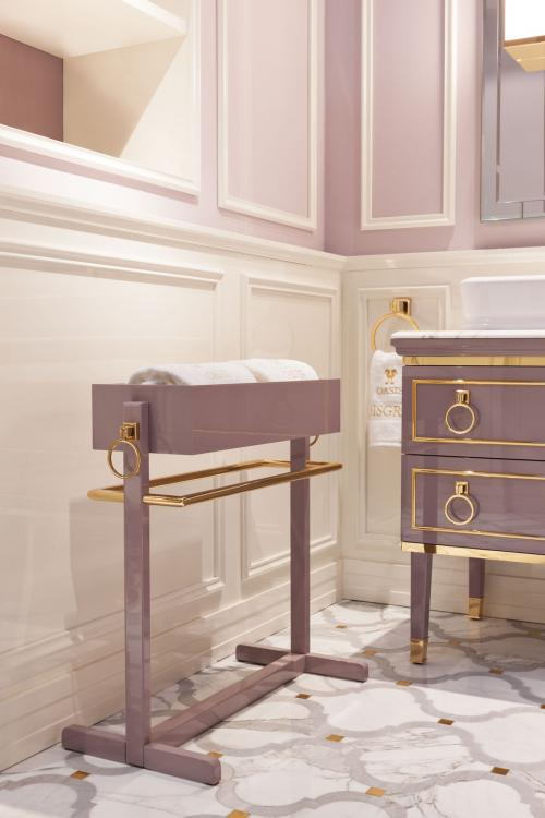 Lutetia tall unit, Malva finish, Calacatta Oro marble