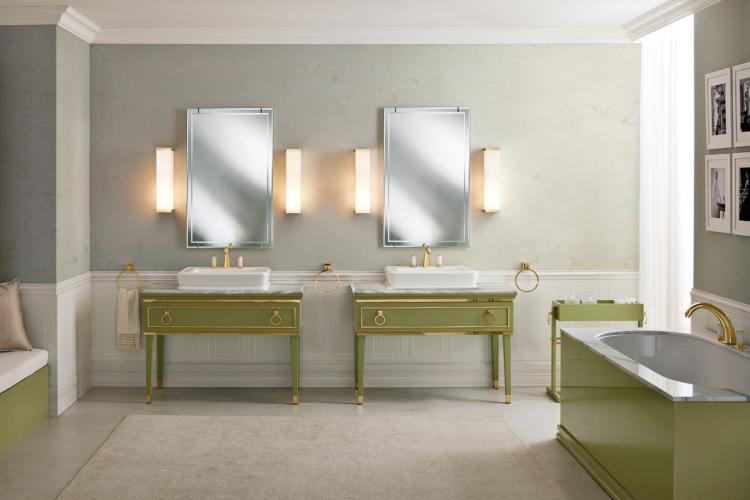 Lutetia vanity unit, Mint finish, Lasa Fantastico marble