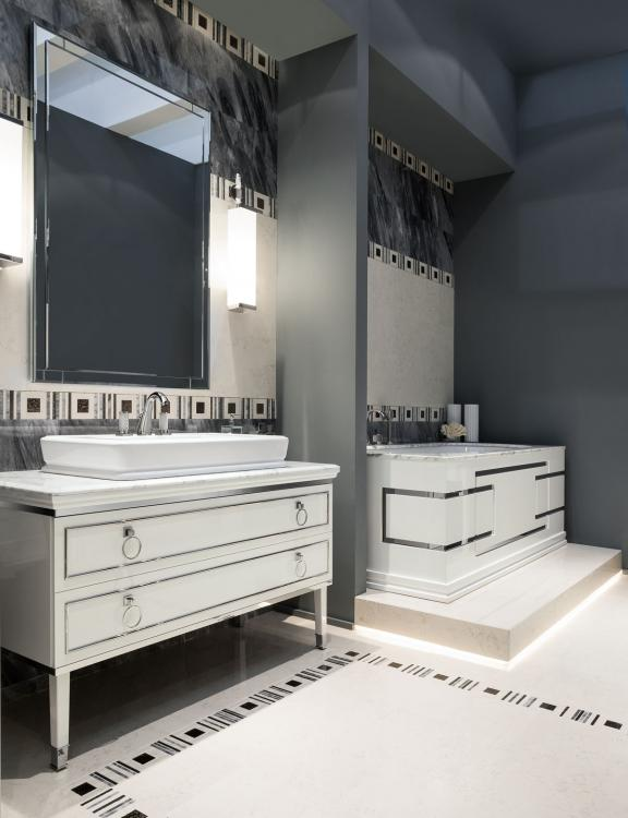 Lutetia vanity unit, Bianco finish, Bianco Statuario marble