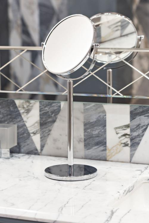 Lutetia vanity unit, Avio finish, Bianco Statuario marble