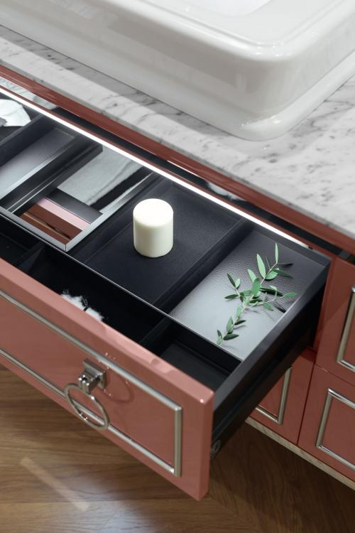 Lutetia vanity unit, Marsala finish, Bianco Statuario marble