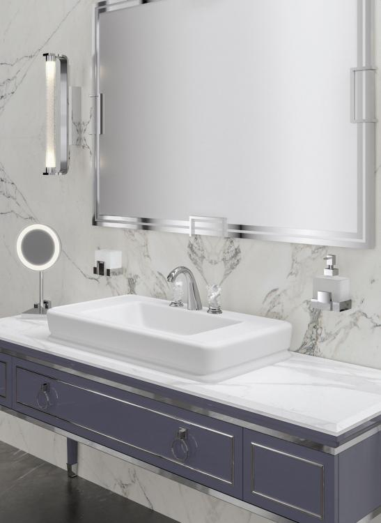 Lutetia vanity unit, Viola finish, Bianco Statuario marble