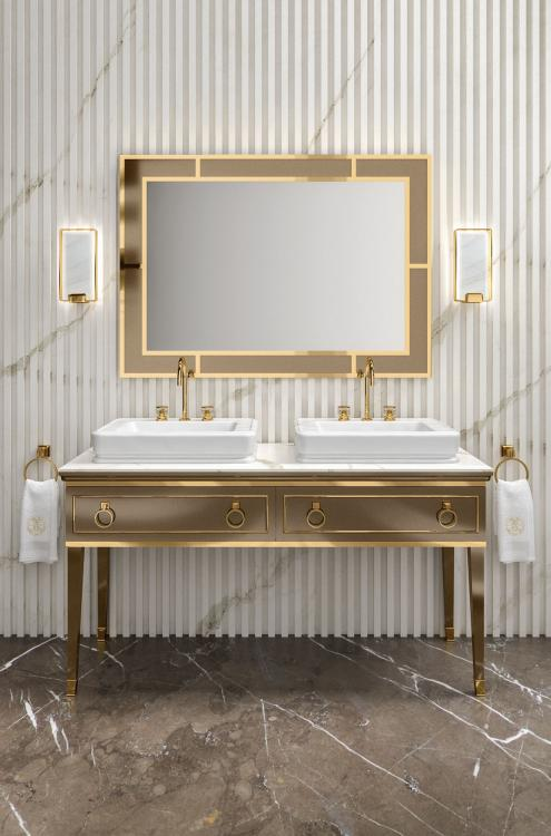 Lutetia vanity unit, Gianduia finish, Calacatta Oro marble