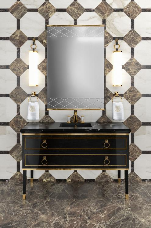 Lutetia vanity unit, Black finish, Nero Marquinia marble