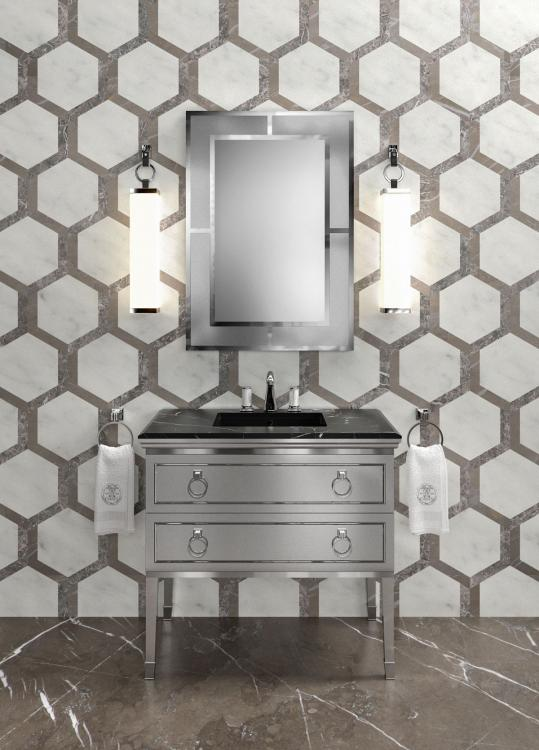 Lutetia vanity unit, Dark Grey finish, Nero Marquinia marble