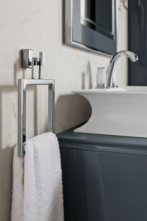 Rivoli vanity unit, Smoke finish, Fortuny faucet, Square chrome towel holder