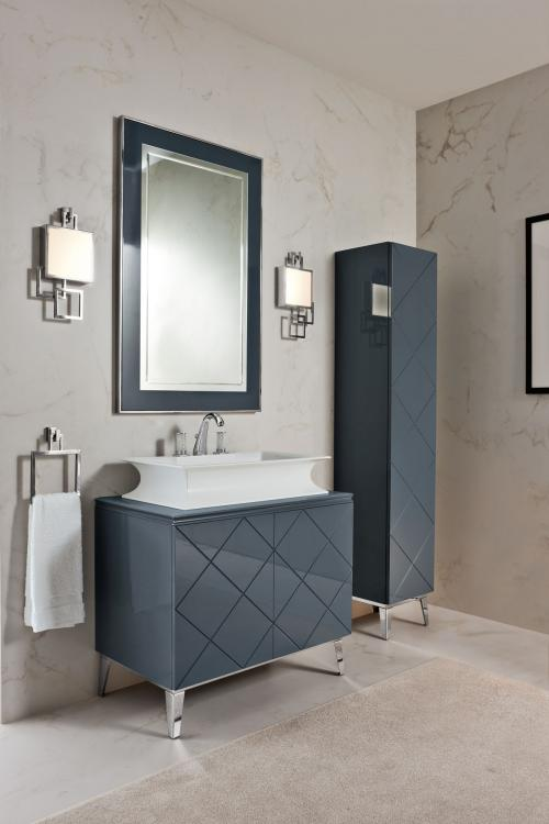Rivoli vanity unit and tall unit, Smoke finish, Fortuny faucet, Vicky wall lamp, chrome details