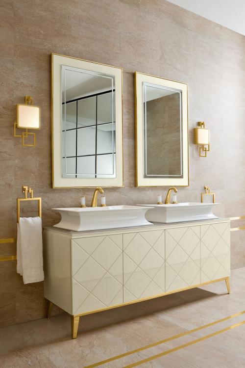 Rivoli vanity unit, Beige finish, Fortuny faucet, Vicky wall lamp, gold details