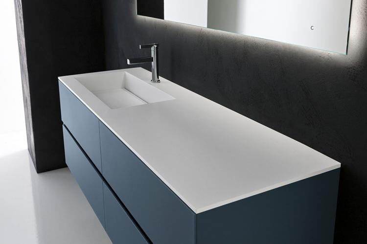 Crystal vanity unit, Petrolio glass finish, integrated Corian top (A), Oscar mirror