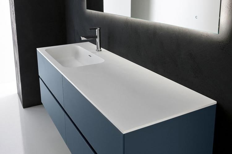 Crystal vanity unit, Petrolio glass finish, integrated Corian top (B), Oscar mirror