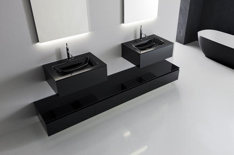 Crystal vanity unit and base unit, Black glass finish, integrated glass top, Vivian mirror