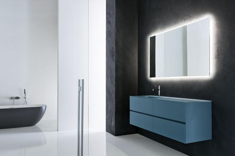 Crystal vanity unit, Petrolio glass finish, integrated glass top, Oscar mirror