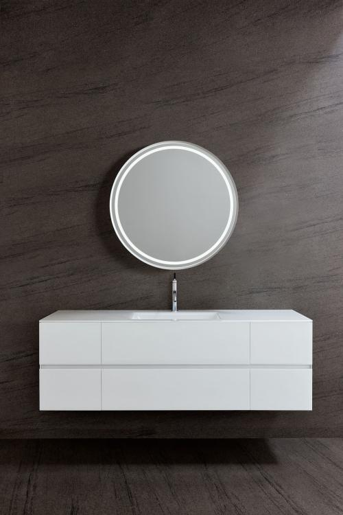Crystal vanity unit, Bianco glass finish, integrated glass top, Dream mirror