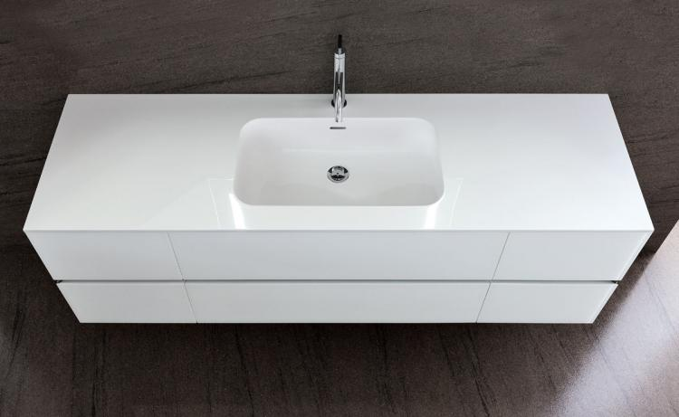 Crystal vanity unit, Bianco glass finish, integrated Corian top (A)