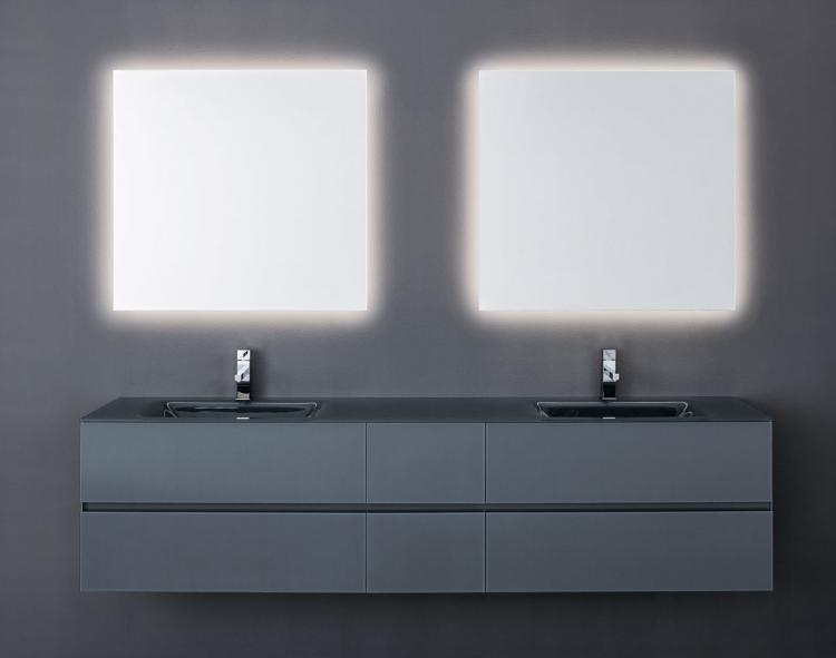 Crystal vanity unit, Medium Grey glass finish, integrated glass top, Oscar mirror