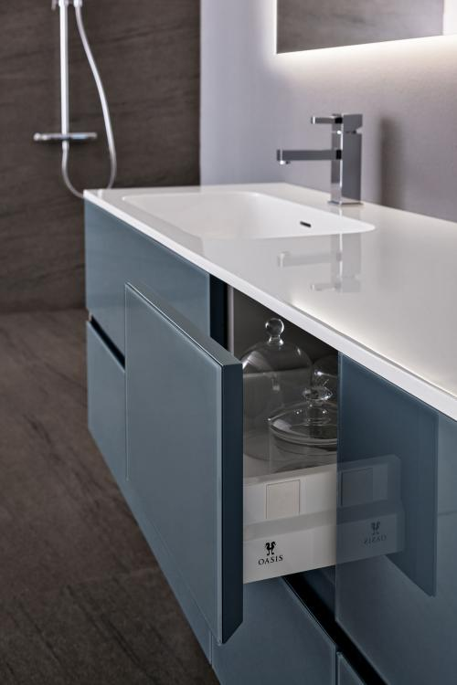 Crystal vanity unit, Medium Grey glass finish, integrated Corian top (B), Oscar mirror