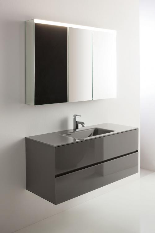 Crystal vanity unit, Antrax glass finish, integrated glass top, Victoria mirror