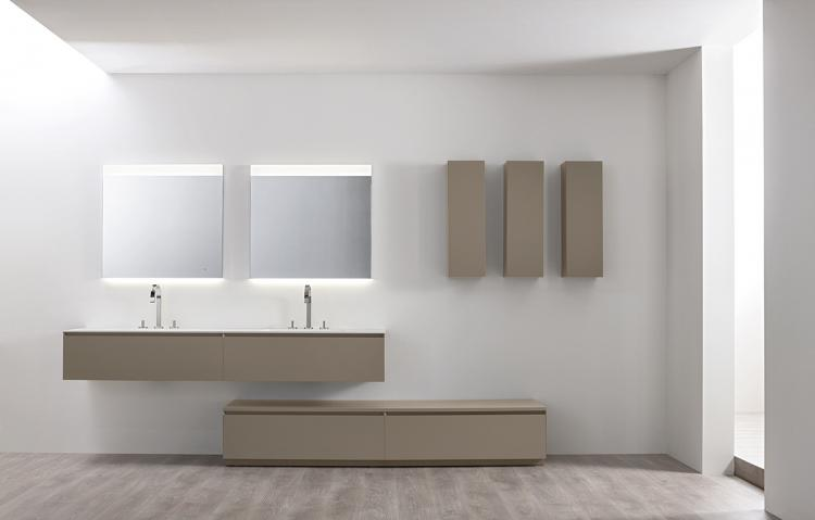 Manhattan vanity unit, base unit and wall unit, Vulcano finish, integrated washbasin, Vivian mirror