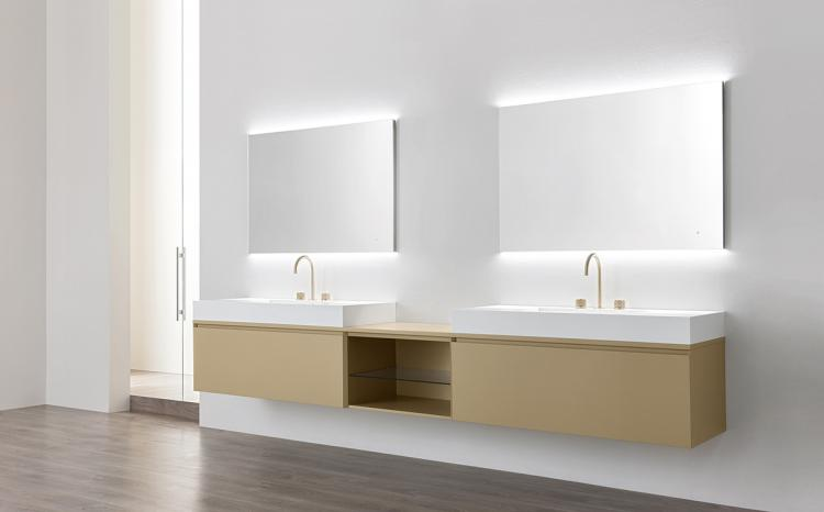 Manhattan vanity unit, Beige finish, countertop washbasin, Oscar mirror
