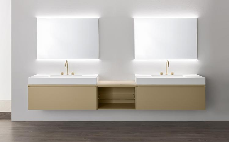 Manhattan vanity unit Beige finish, countertop washbasin, Oscar mirror