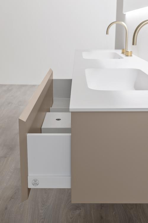 Manhattan vanity unit, Vulcano finish, corian washbasin, Oscar mirror