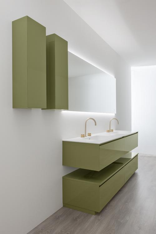 Manhattan vanity unit and wall unit, Mint finish, corian washbasin, Oscar mirror