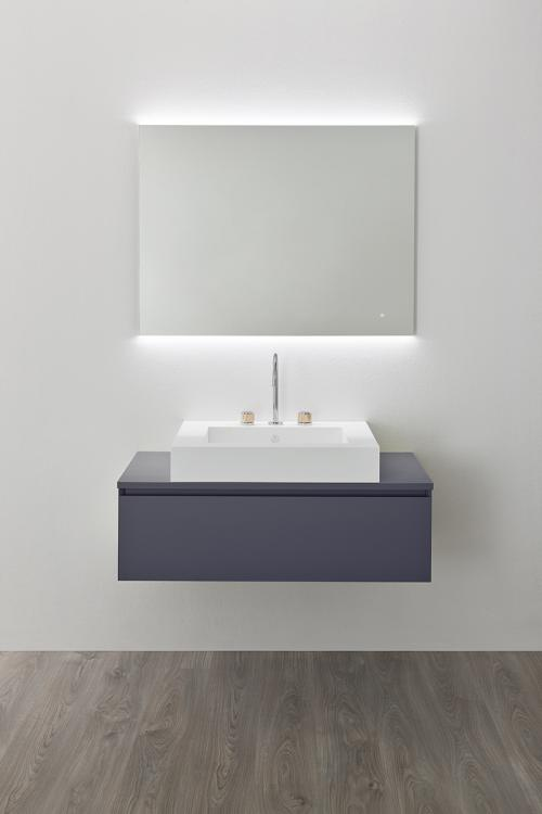 Manhattan vanity unit, Viola finish, countertop corian washbasin, Oscar mirror
