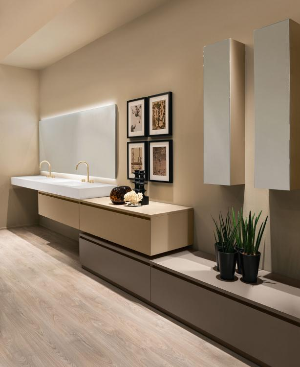 Manhattan vanity unit and base unit, Beige/Vulcano finish, countertop washbasin, Oscar mirror