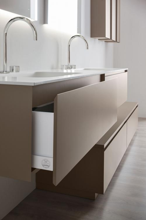 Manhattan vanity unit, base unit, Vulcano finish, integrated washbasin