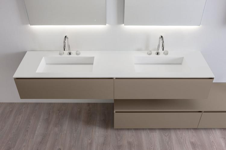 Manhattan vanity unit, Vulcano finish, integrated washbasin