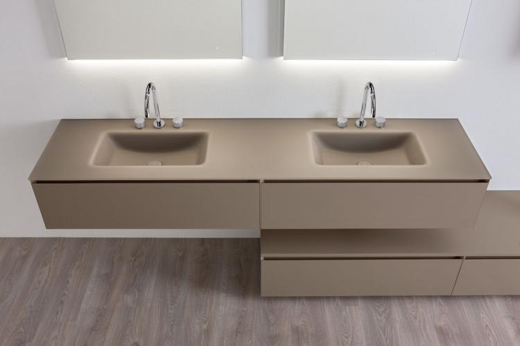 Manhattan vanity unit, Vulcano finish, integrated glass washbasin