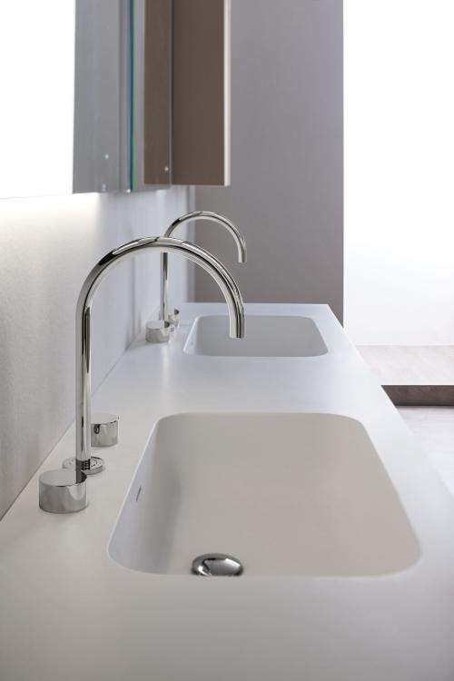 Manhattan vanity unit and tall unit, Vulcano finish, integrated washbasin