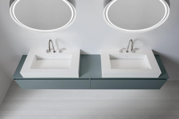 Manhattan vanity unit, Avio finish, countertop corian washbasin, Dream mirror