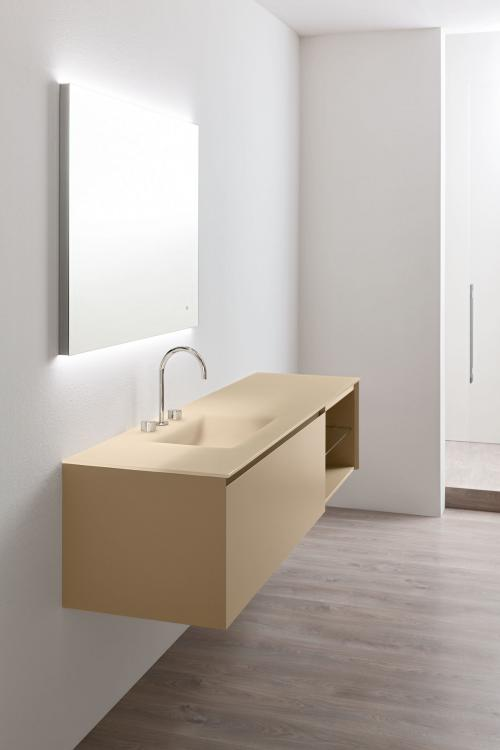 Manhattan vanity unit, Beige finish, integrated glass washbasin, Oscar mirror
