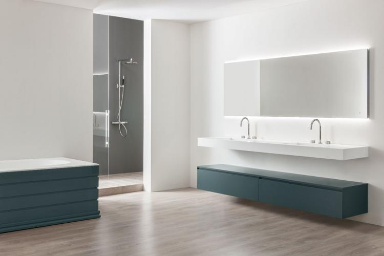 Manhattan vanity unit, Petrolio finish, suspended corian washbasin, Oscar mirror